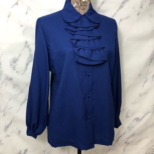 Vintage Union Made Button Down Ruffle Top